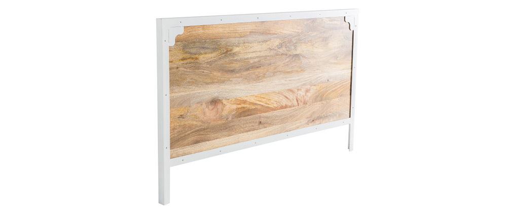 Bettkopfteil PUKKA aus Mangoholz und weißem Metall 165 cm