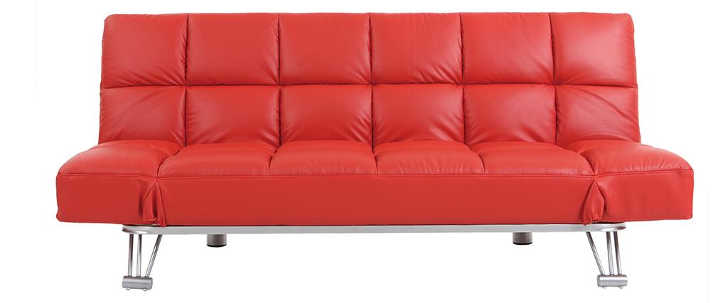 Bettsofa aus rotem Leder mit 3 Sitzplätzen Manhatten - Rindsleder