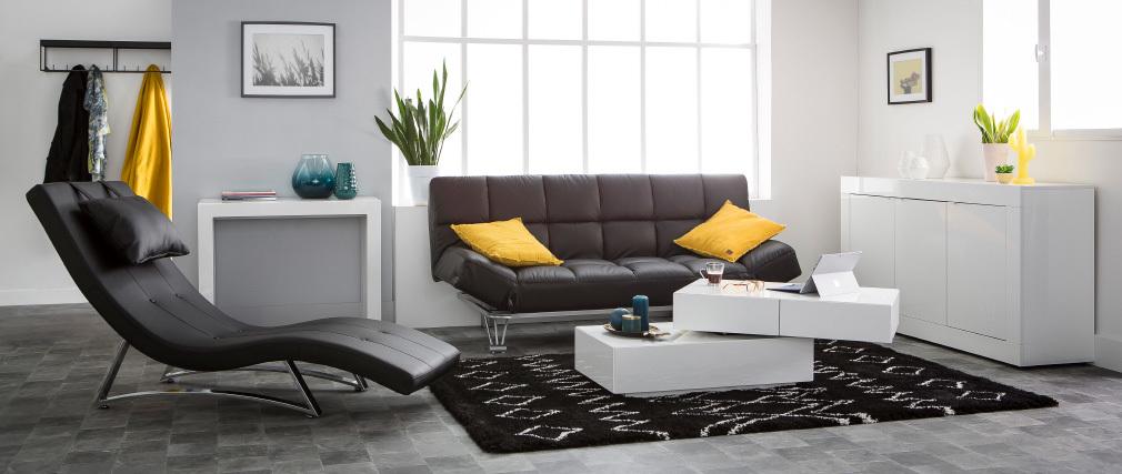 Bettsofa aus schwarzem Leder mit 3 Sitzplätzen Manhatten - Rindsleder