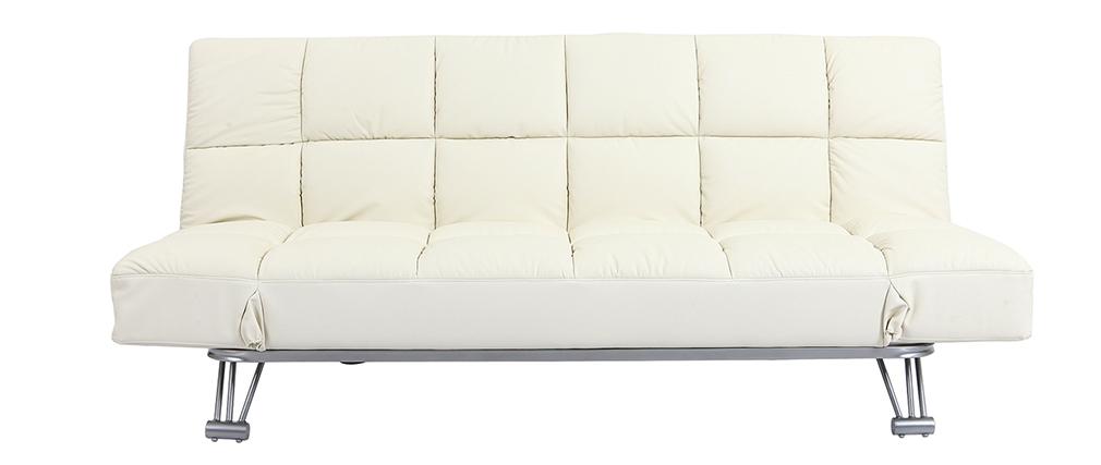 Bettsofa Manhatten aus wollweißem Leder 3 Sitzplätze - Rindsleder
