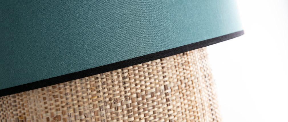 Bimaterial Hängelampe Jute und graublaues Gewebe D40 cm CHILL