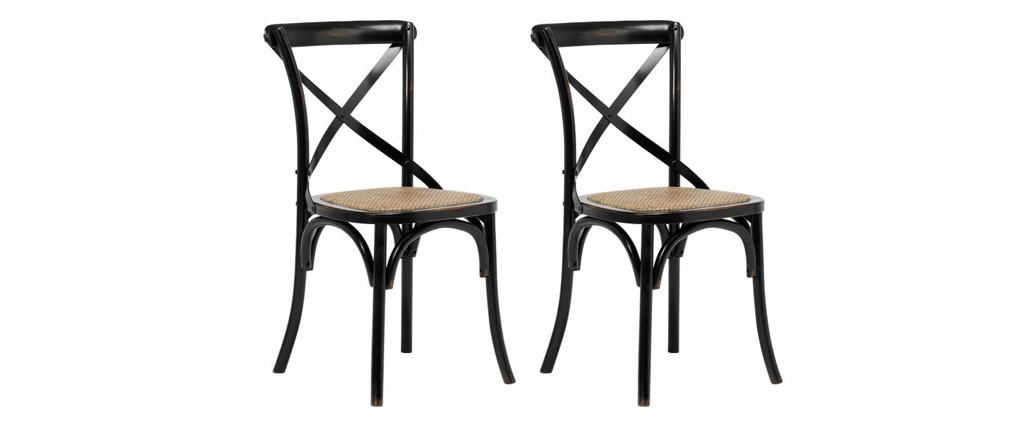 Bistro-Stühle aus schwarzem Holz und Rattan ? 2er-Set KAFFE