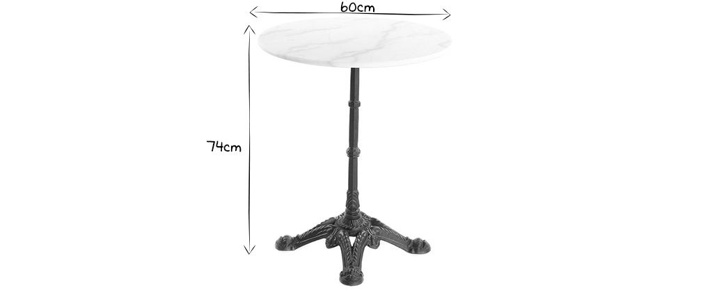 Bistro-Tisch aus weißem Marmor und schwarzem Metall CONTY