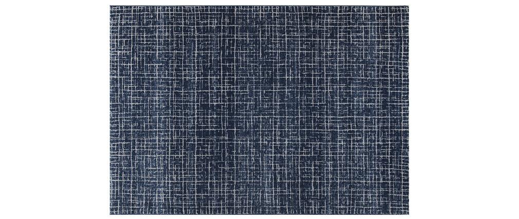 Blauer Teppich mit grafischem Muster 160 x 230 cm SAPHIR