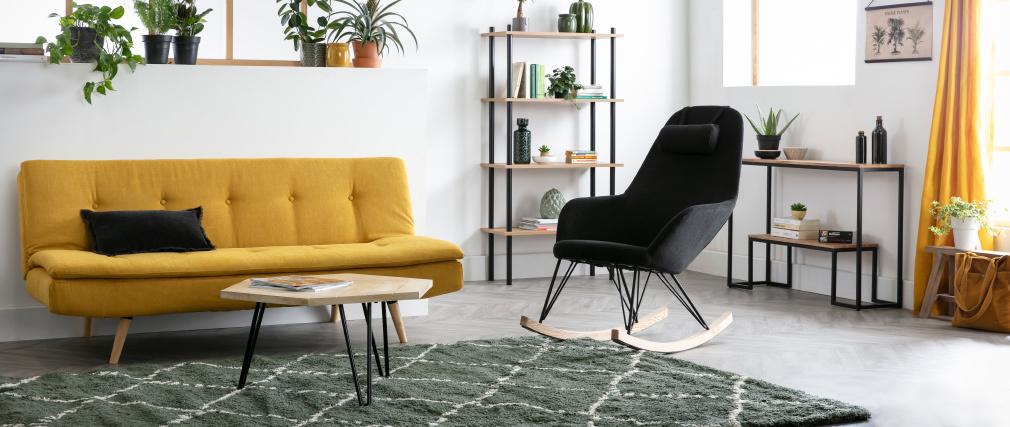 Bücherregal aus schwarzem Metall und hellem Holz STAIR
