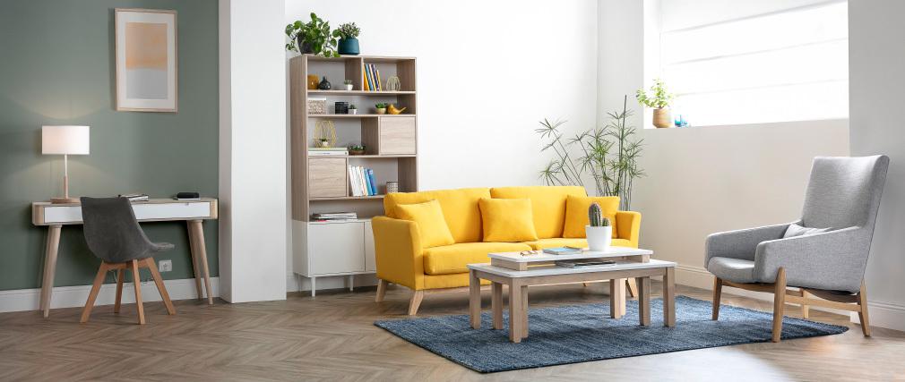Bücherregal skandinavisch 10 Fächer Holz und weiß STRIPE