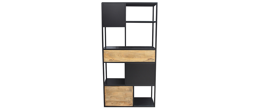 Bücherschrank aus schwarzem Metall mit massivem Mango-Holz JAIPUR - Miliboo & Stéphane Plaza