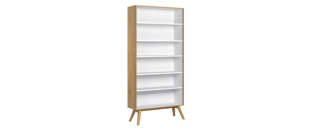 Bücherschrank POTTER skandinavische Eiche und weiß