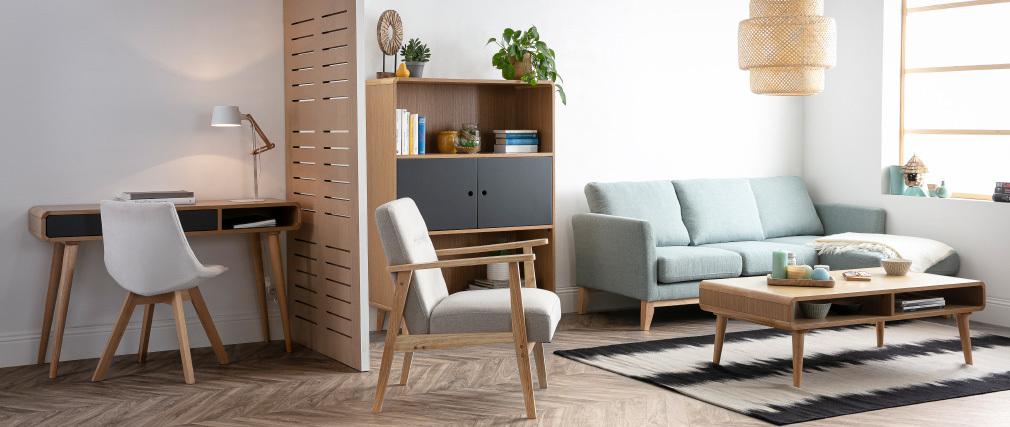 Büro-Konsole skandinavisch Eiche hell und Grau L120 cm COPENHAGUE