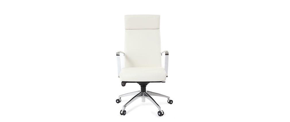 Bürosessel weiß  Bürosessel Leder Weiß GIOVANNI - Miliboo