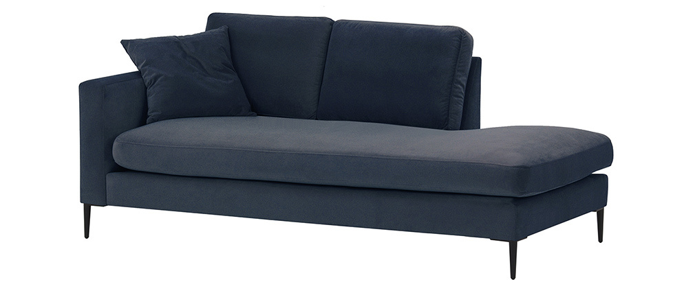 Chaiselongue aus Velours blau COZY - Miliboo & Stéphane Plaza