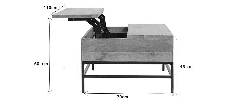 Couchtisch aufklappbar Industrie-Stil Mangoholz und Metall 110 cm YPSTER