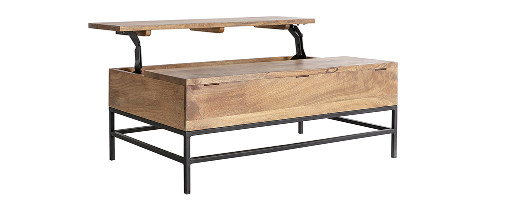 Couchtisch aufklappbar Industrie-Stil Mangoholz und Metall L110 cm YPSTER