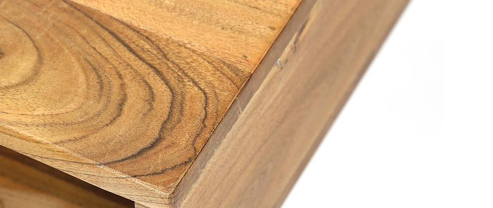 Couchtisch aus Akazienholz und schwarzem Metall ALVIN