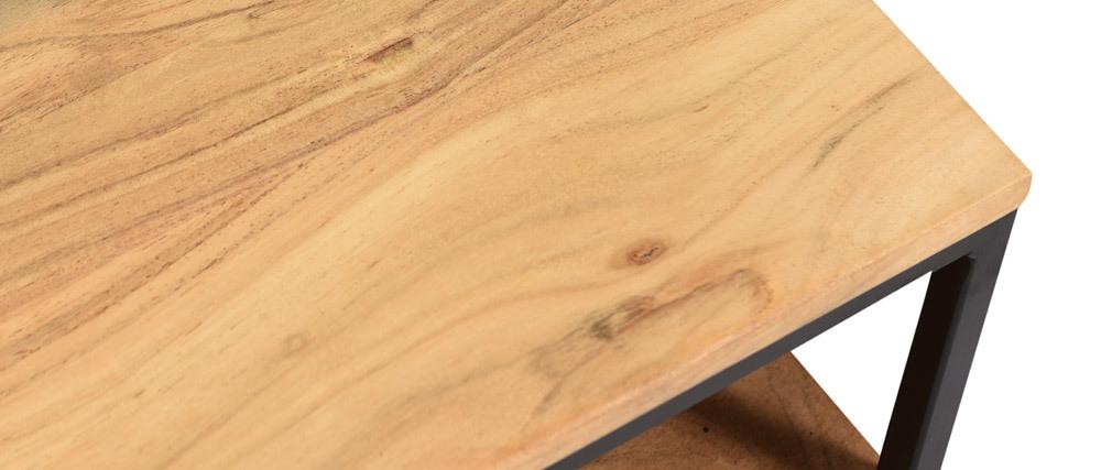 Couchtisch aus massivem Akazienholz und Metall YONA