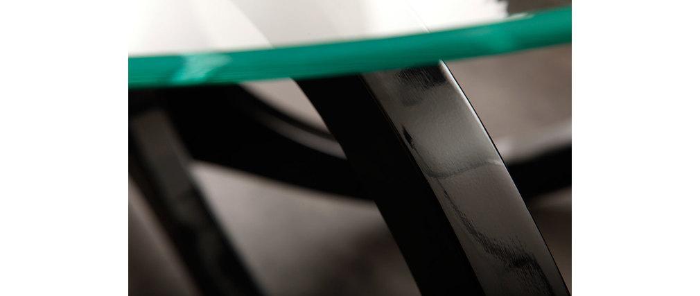 Couchtisch BUTTERFLY design Glas schwarz  Miliboo