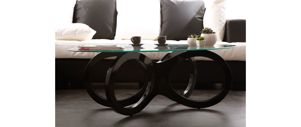 couchtisch butterfly design glas schwarz miliboo. Black Bedroom Furniture Sets. Home Design Ideas