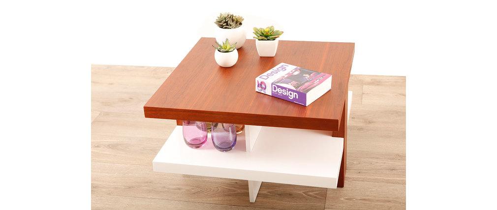 couchtisch glasgow weiss lackiert und holz miliboo. Black Bedroom Furniture Sets. Home Design Ideas