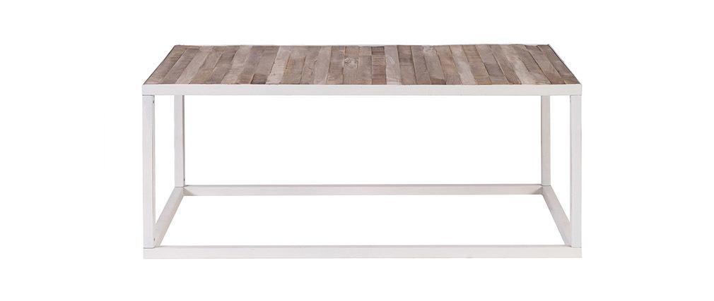 Couchtisch Holz  Metall Weiß 100 x 60 cm ROCHELLE