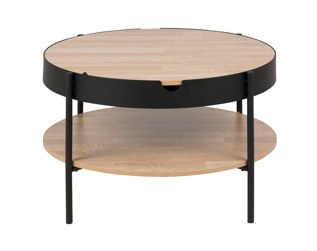 Couchtisch Holz und Metall Schwarz 75 cm SUZIE - Miliboo