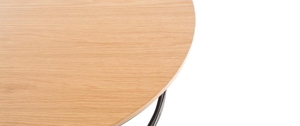 Couchtisch Holz und Metall Schwarz rund 80 cm LACE