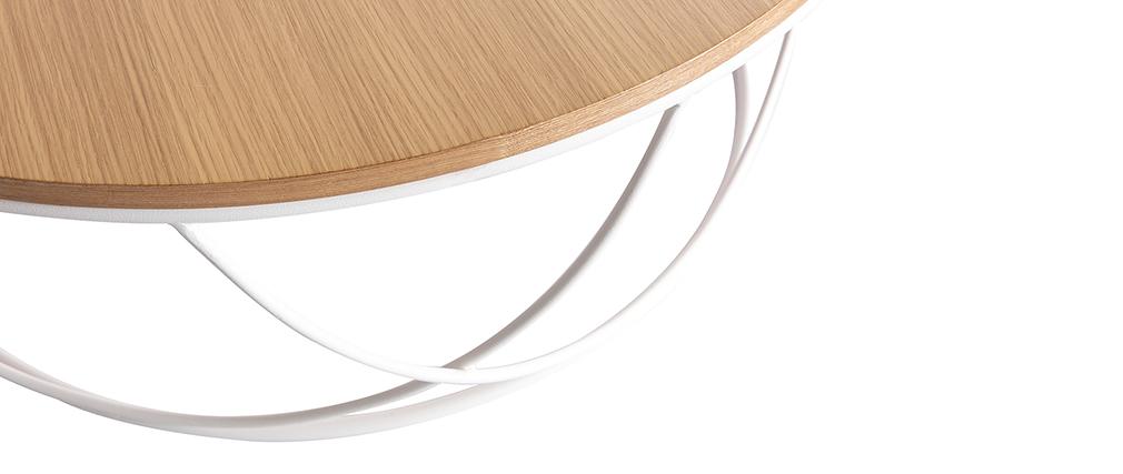 Couchtisch Holz und Metall Weiß rund 80 cm LACE ? Miliboo & Stéphane Plaza