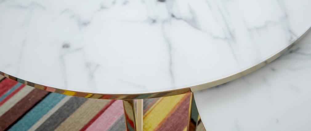 Couchtisch Marmoreffekt und Metallbeine 80 cm SILAS
