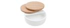 Couchtisch mit drehbaren Tischplatten und Staufläche Weiß und Holz ICON