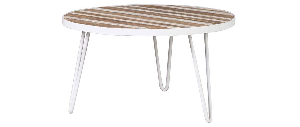 Couchtisch rund Holzfurnier und Metall Weiß 80x45 ROCHELLE
