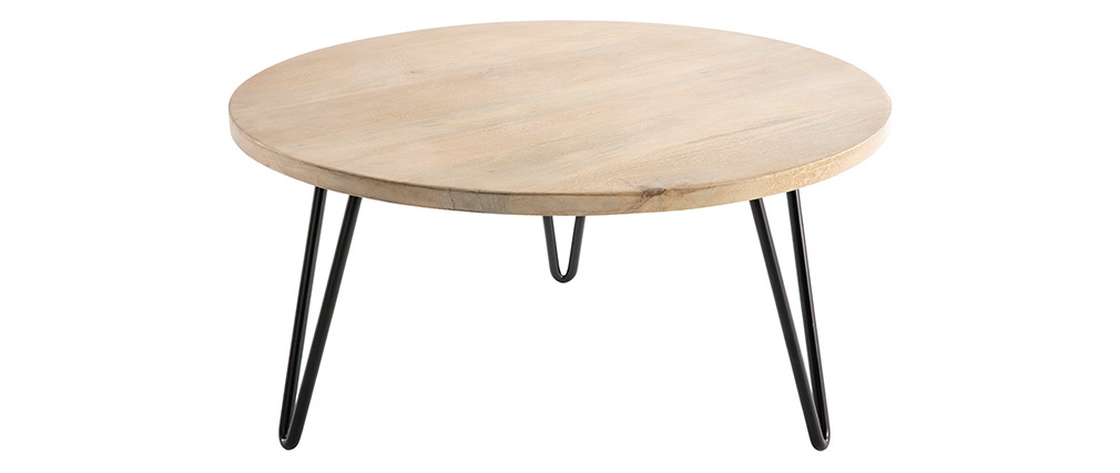Couchtisch rund Mangoholz und Metall 80 x 40 cm (B x H) VIBES