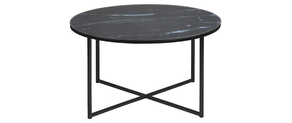Couchtisch rund Marmoreffekt Schwarz Metallbeine 80 cm ALCINO