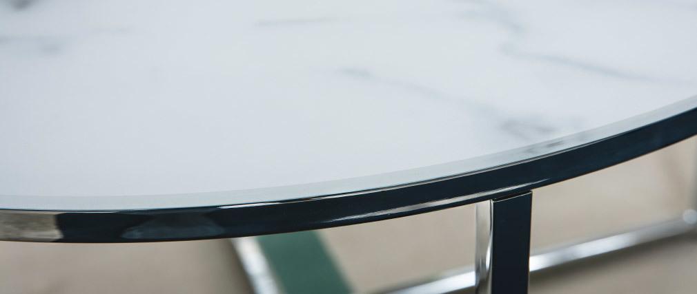 Couchtisch rund Marmoreffekt Weiß Beine aus Metall 80 cm ALCINO