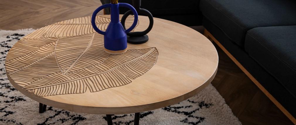 Couchtisch rund strukturiert aus Mangoholz und schwarzem Metall VIBES