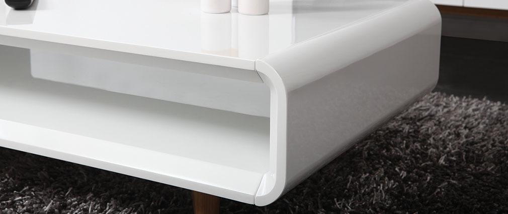 Couchtisch Skandinavienstil Weiß glänzend und Esche MELKA