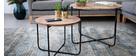 Couchtische/Beistelltische rund aus Holz und schwarzem Metall (2er-Set) CROSS