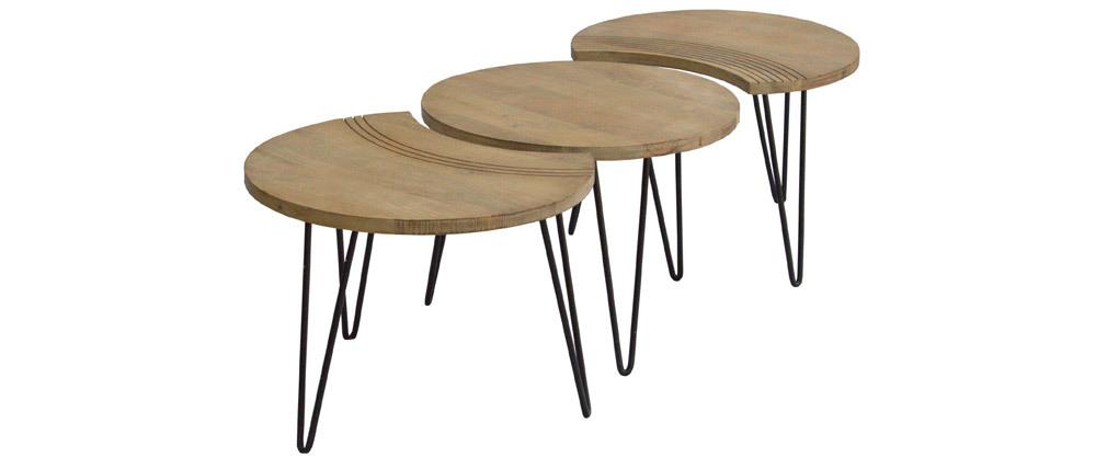 Couchtische strukturiert aus Mangoholz und schwarzes Metall (3er-Set) VIBES