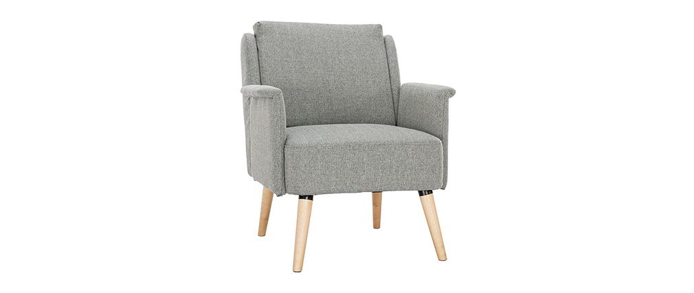 Der skandinavische Sessel AEOLA hellgrau und aus Holz