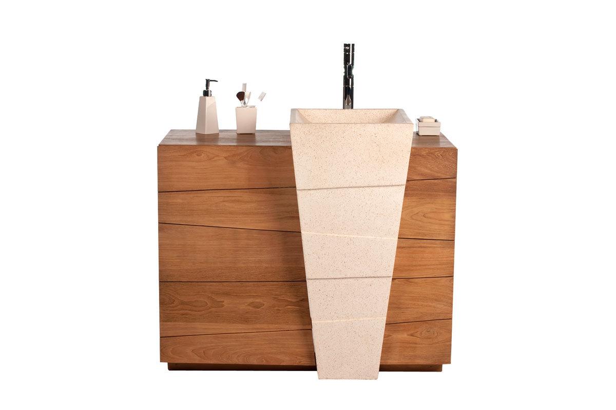 Design-Badmöbel Ethno-Look aus Teakholz und Terrazzo Einbauwaschbecken ARU