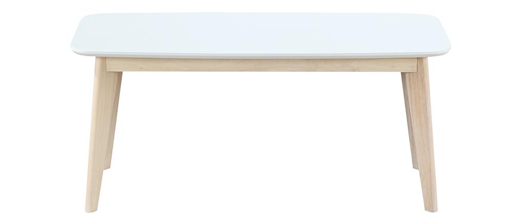 Design Bank 100 cm Weiß und Holz LEENA