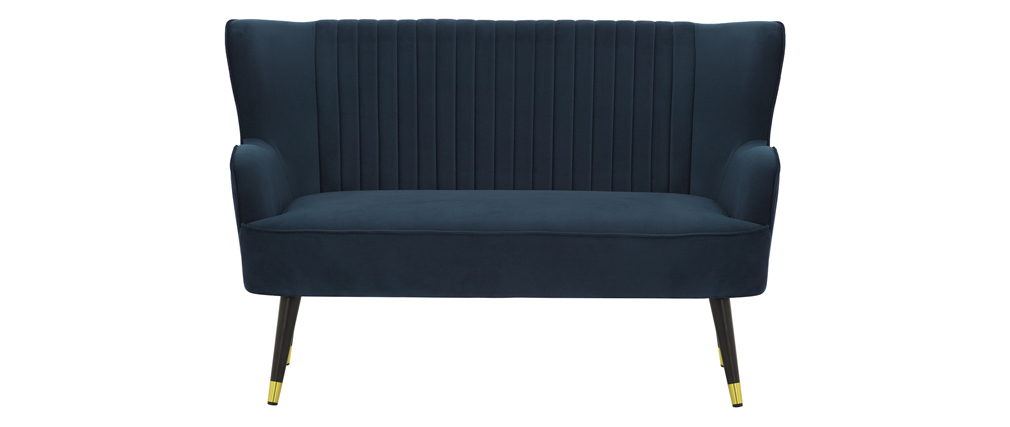 Design-Bank Velours Blau VERTIGO