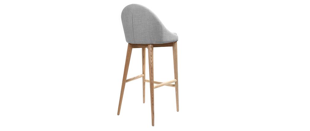 Design-Barhocker 75 cm Holz Stoff Hellgrau DALIA