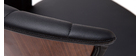Design-Barhocker ALBIN drehbar schwarz und dunkles Holz H65 cm