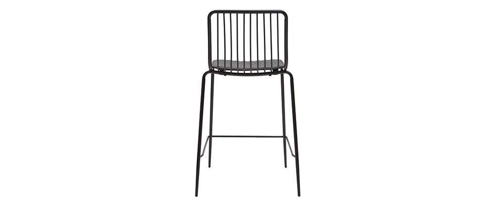 Design-Barhocker aus Metall Schwarz mit Kissen 65 cm (2er-Set) FEELING