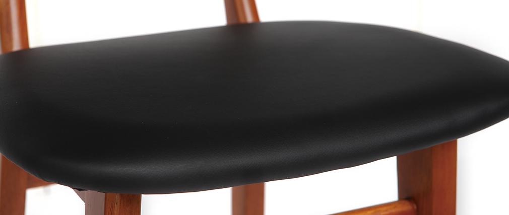 Design-Barhocker aus Nussbaumholz und Schwarz 75cm NORDECO