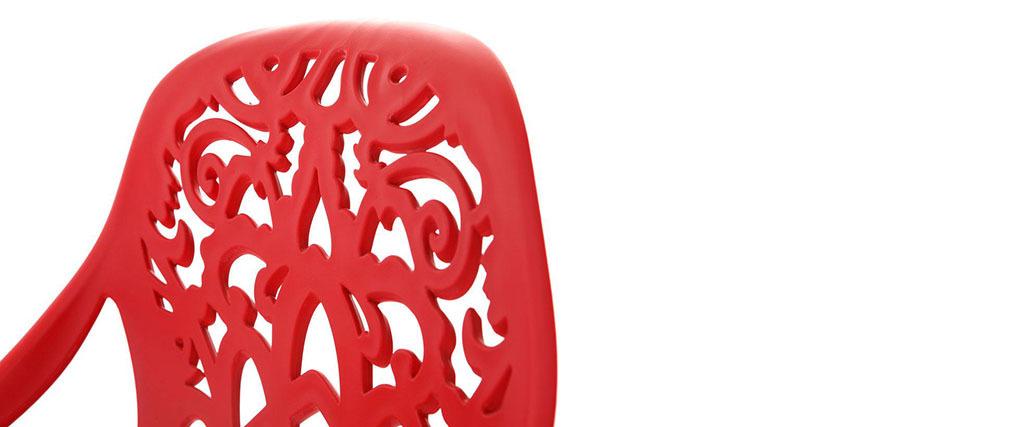 Design-Barhocker Barockstil BAROCCA Rot