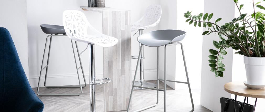 Design-Barhocker Barockstil BAROCCA Weiß