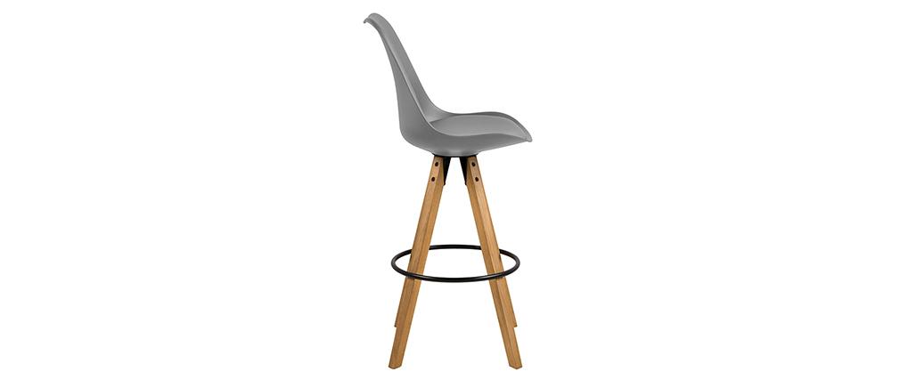 Design-Barhocker Dunkelgrau und Holz 2 Stck. NADJA
