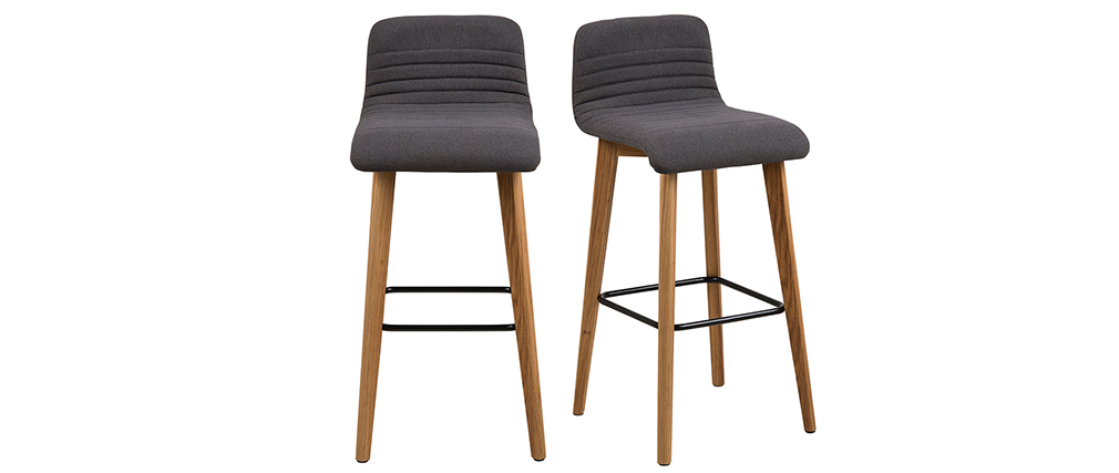Design-Barhocker Dunkelgrau und Holz 2 Stck. ULRIK