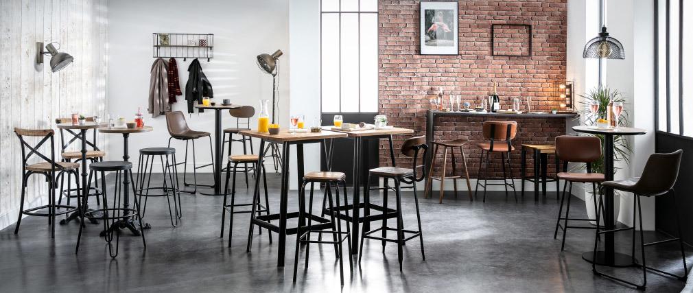 Design-Barhocker Edelstahl 2er-Set H 75 cm dunkles Holz MEMPHIS