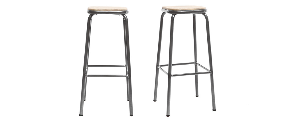 Design-Barhocker Edelstahl 2er-Set H 75 cm helles Holz MEMPHIS